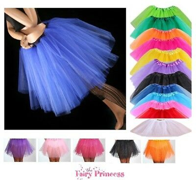 Long Girls Teenager Adult 3 Layer Tulle Tutu Skirt - Various Colours One Size • 6.99£