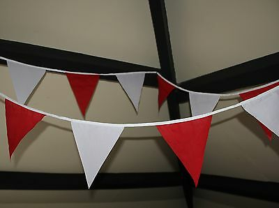 New Handmade Fabric Bunting- Choice Of Colours And White- 30 Flags Per Banner • 8.99£