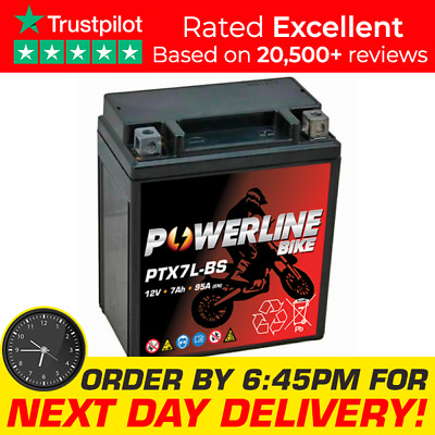 Powerline Motorcycle/Scooter Battery Motorcycle YTX7L-BS • 24.95£