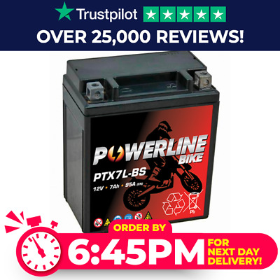 Powerline YTX7L-BS Westco Motorcycle Battery 12V 7Ah (12V7L-B) • 24.95£