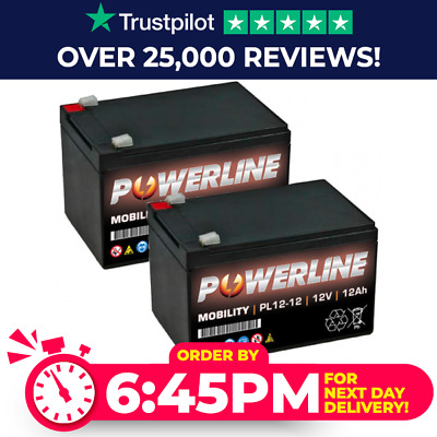 £37.99 • Buy Pair Of POWERLINE Strident 12V 12Ah 20HR Rechargeable Battery NEXT DAY Delivery*