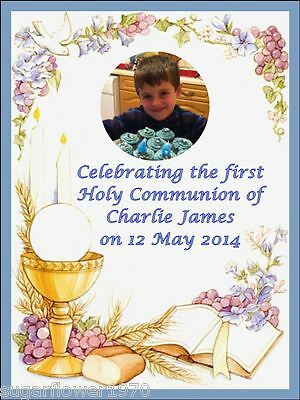 Personalised Own Photo 1st Holy Communion Icing Cake Topper Decoration Boy A4 • 6.49£
