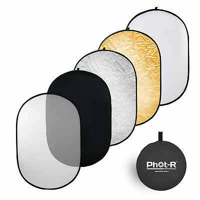 Phot-R 90x120cm (35 X47 ) 5 In 1 Photo Studio Collapsible Light Reflector + Case • 17.49£