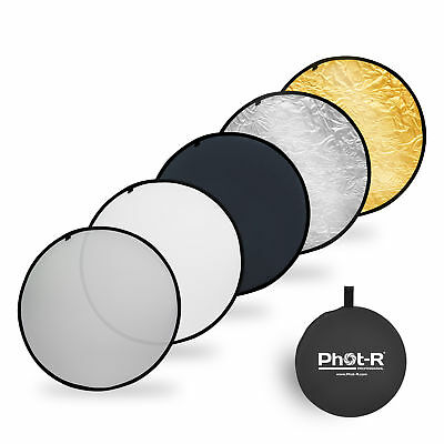 Phot-R 80cm (32 ) PRO 5-in-1 Photo Studio Collapsible Circular Reflector+Case • 14.99£