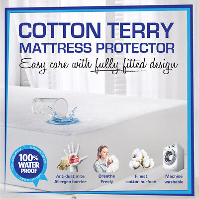 AU26.50 • Buy Fully Fitted Waterproof Mattress Protector-Cot/Single/Double/Queen/King-All Size