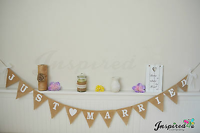 Just Married Hessian Bunting Rustic Burlap Wedding Bride Garland Banner Lace • 10.49£
