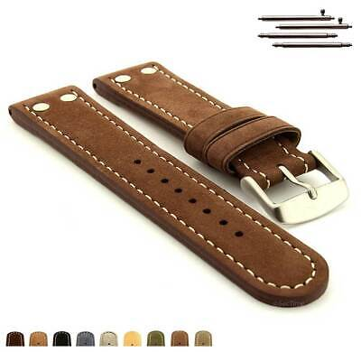 Riveted Suede Genuine Leather Watch Strap Band 20 22 24 Aviator Style - MM • 15.95£
