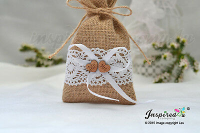 25 X Hessian Favor Bags Cotton Lace Wooden Mr Mrs Heart Wedding Party Sweets • 39.50£