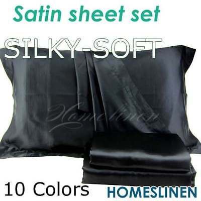 AU34.95 • Buy Satin Silky King/Queen/Double/Single/KS Size Fitted Flat Pillowcase Sheet Set