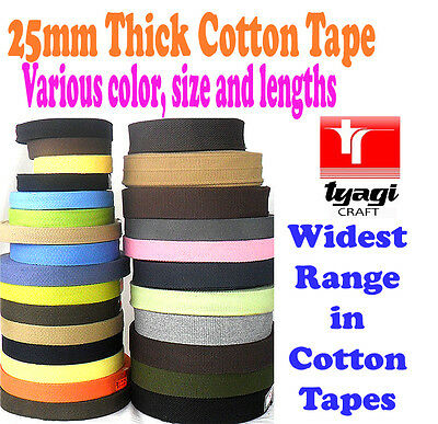 25mm Cotton Webbing Belting Fabric Strap Bag Making Soft Thick Tape Ribbon Strap • 3.99£
