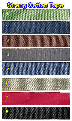 £3.80 • Buy 25mm Cotton Webbing Belting Canvas Strap Bag Making Thick Quality Strapping