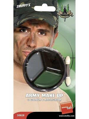 Army Fancy Dress Make Up Face Paint Camo Camouflage & Applicator New By Smiffys • 5.40£