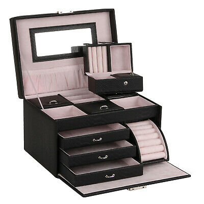 AU55.99 • Buy Large Jewellery Box Necklace Earring Rings Storage Display Organiser Travel Case