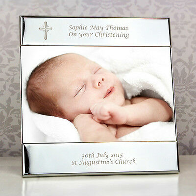 £14.49 • Buy Personalised Silver Cross Christening Photo Frame 6 X4  Engraved Picture Gift
