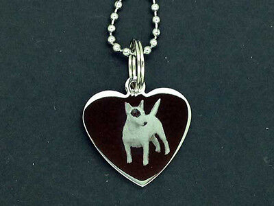 Personalised Photo/Text Engraved Heart Necklace Pendant ENGLISH BULL TERRIER • 9.99£
