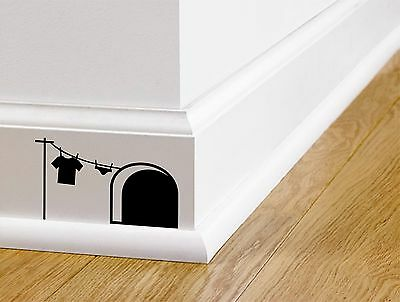 MOUSE HOUSE WALL STICKER - Cute Funny Bedroom Mickey Character - Wall Art NEW • 2.99£
