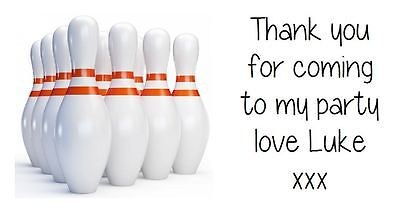 Personalised 10 Pin Bowling Party Stickers Party Bag Labels Favours Sweet Cones • 2.20£