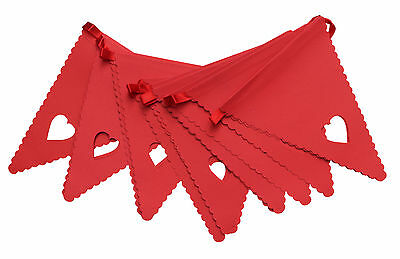 Red Heart Bunting Banner Garland Wedding Party Christening Decoration Free Post • 5.50£
