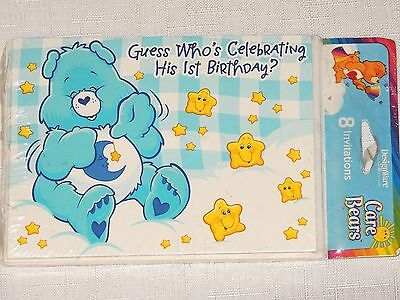 NEW CARE BEARS 1st  BIRTHDAY BOY  8-INVITATIONS WITH ENVELOPES  PARTY SUPPLIES • 1.49£
