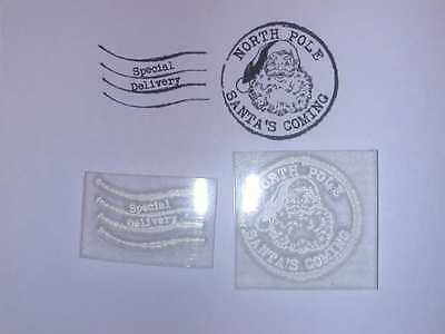 Christmas Postmark Clear Stamp With Santa Face To Make Or Personalise Your Cards • 3.49£