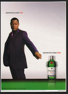 AU15.03 • Buy 2002 TANQUERAY London Dry Gin - Actor LAURENCE FISHBURNE -  VINTAGE AD