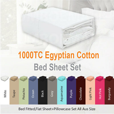 AU69 • Buy 1000TC EGYPTIAN COTTON 4 Piece Bed Fitted,Flat Sheet Set Pillowcase All Aus Size