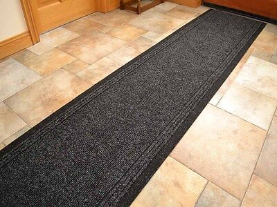 Black Heavy Duty Non-Slip Rubber Backed Hall Runners Extra Long Narrow Rugs Mat • 18£