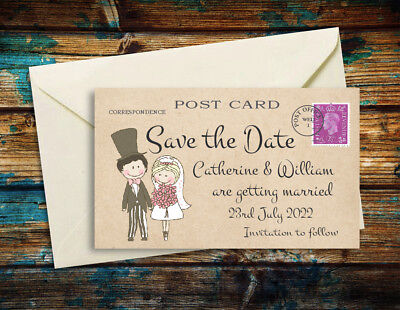AU55.78 • Buy SAVE THE DATE MAGNETS Cute Couple Personalised Wedding Magnets + Envelopes
