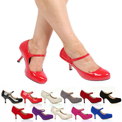 £16.99 • Buy New Womens Ladies Strap Mid Heel Casual Smart Work Pump Court Shoes Size 3-8