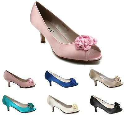 £16.99 • Buy Womens Satin Wedding Shoes Bridesmaid Party Kitten Low Heel Sandals Size 3-8