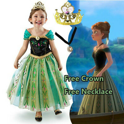 AU22.45 • Buy Girl Anna Costume Dress Party With Tiara And Necklace Size 3-11 Years