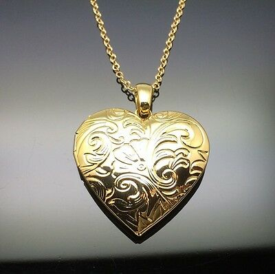 AU12.95 • Buy Gold Heart Locket Pendant Necklace 14ct Gold GP Gift Photo Insertable