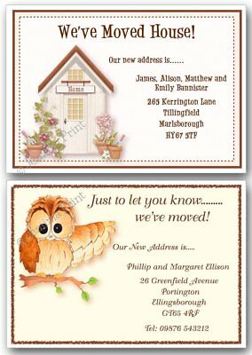Personalised Change Of Address New Home House Moving Cards X 10 Owl Cottage • 3.75£