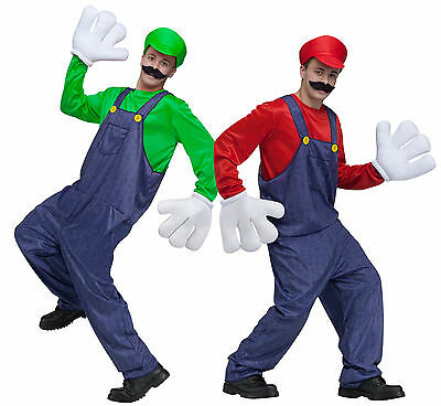 $41.99 • Buy Adult Vedio Game Guy Mario Luigi Outfit +Gloves+ Mustache Costume One Size