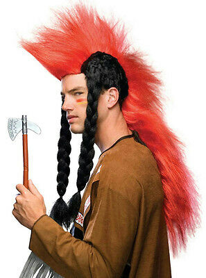 $14.99 • Buy Super Red Punk Mohawk With Long Black Braids Native American Indian Wig