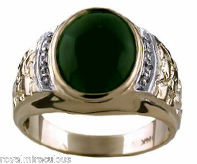 £543.11 • Buy Mens Jade Ring With Diamonds Set In 14K Yellow Or 14K White Gold