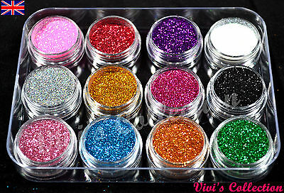 12 Colours Glitter Dust Powder Pots Set Nail Art Tips Decoration / Crafts / DIY • 4.59£