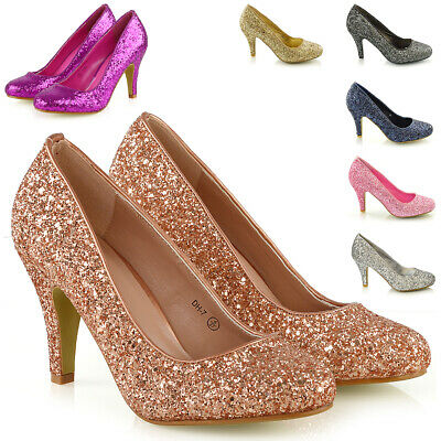 £24.99 • Buy Womens Glitter Shoes Bridal Slip On Low Heel Ladies Evening Party Courts Size