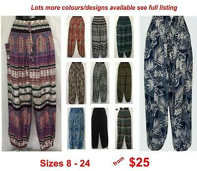 AU27 • Buy Harem Genie Ladies Gypsy Boho Yoga Printed Pants Sizes 8 10 12 14 16 18 20 22 24