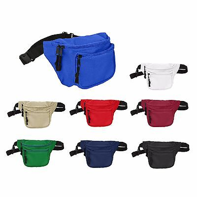 $3.99 • Buy DALIX Fanny Pack With 3 Pockets Blue Black Maroon Travel Waist Pouch Adjustable