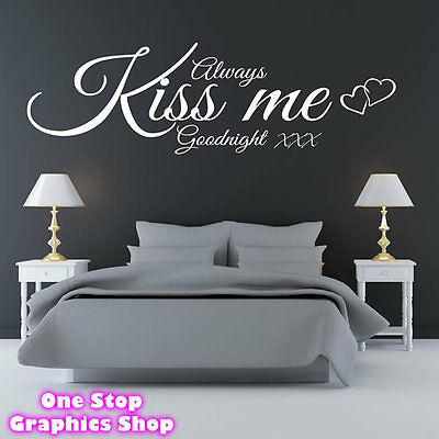 Always Kiss Me Goodnight Wall Art Quote Sticker - Bedroom Lounge Love Decal 3 • 12£