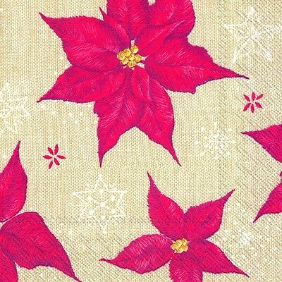 STITCHED WINTER ROSE Linen Christmas Paper Napkins Traditional English 20 Pack • 4.79£