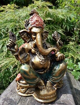 Fair Trade Hand Made Resin Ganesh Ganesha Elephant Hindu Buddhist Deity Statue  • 15.99£