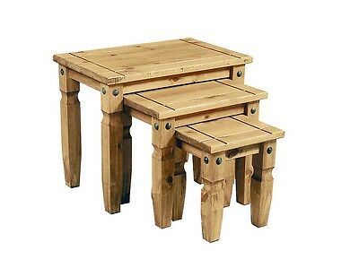 Corona Solid Pine 3 Piece Nest Of Tables FREE DELIVERY  • 54.99£