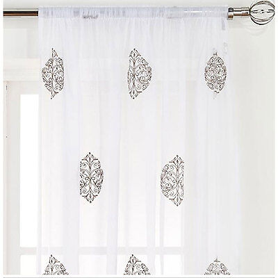 £7.20 • Buy Majestic Embroidered Slot Top Voile Curtains (Pair Of) - Choice Of Colour & Size