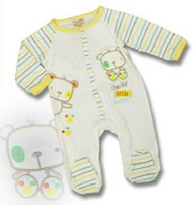 Baby Boys/Girls Bear Applique Sleepsuit Onesie (Ages Newborn, 0-3 & 3-6 Months) • 7.99£