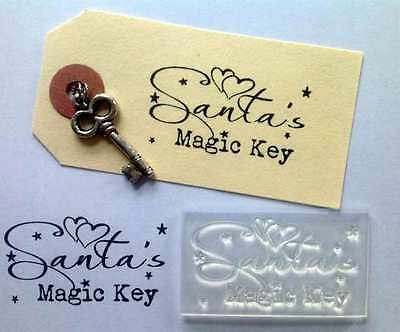 Santa's Magic Key, Christmas Clear Craft Stamp For Handmade Tags And Cards • 3.99£