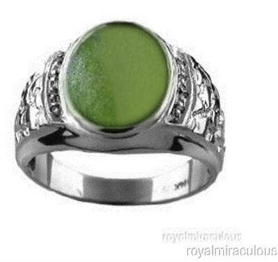 £131.32 • Buy Mens Ring Jade & Diamond Sterling Silver Or Gold Plated Silver Nugget Style
