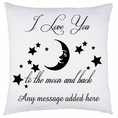 Personalised Cushion Cover Valentines Day Love You To The Moon And Back  Gifts • 9.99£