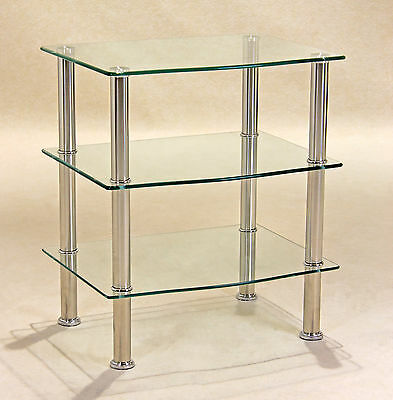 Display Stand TV Stand DVD Hi-Fi Game Console Unit Three Shelf Clear Glass • 54.99£